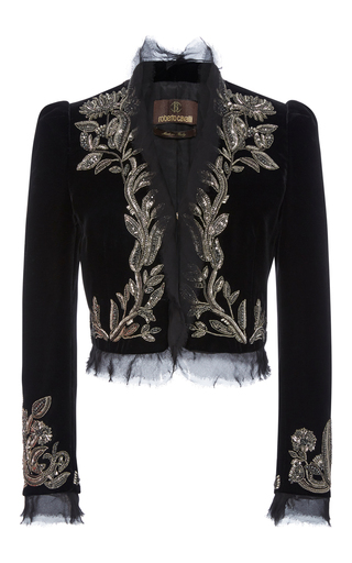 Medium roberto cavalli black embroidered cropped jacket 2