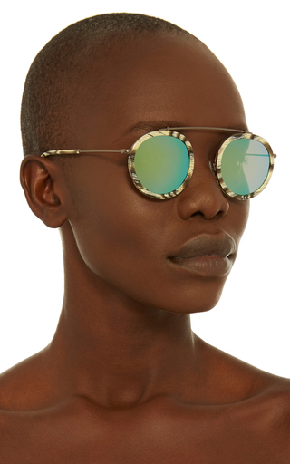 Conti Bone Mirrored Sunglasses  by KREWE Now Available on Moda Operandi