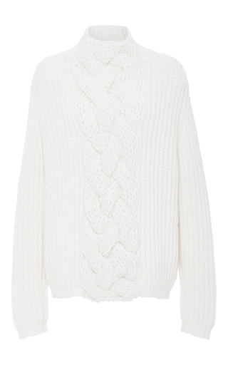 Medium hensely off white front cable pullover sweater