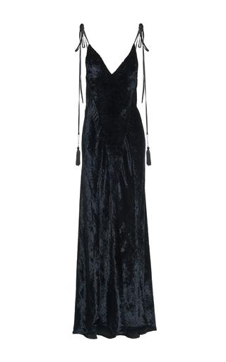 Medium attico black marisa textured velvet slip dress