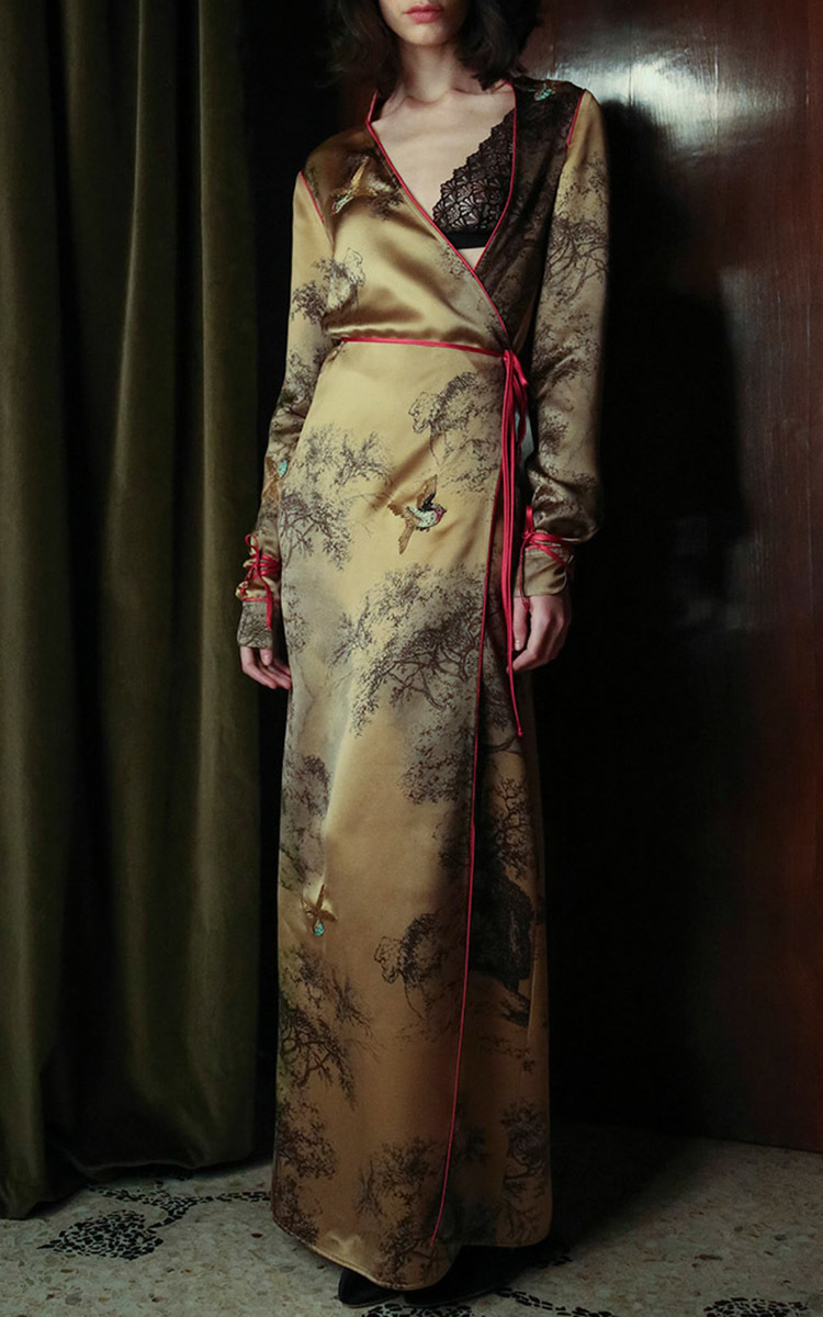 Liza Printed Silk Long Dressing Gown by Attico | Moda Operandi