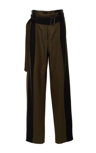 Medium ji oh olive striped danton belted pant