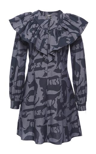 Medium alexis mabille print ruffled cat print shirt dress