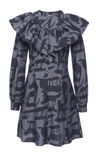 Medium alexis mabille print ruffled cat print shirt dress