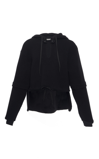 Medium alexis mabille black keyhole cropped hoodie