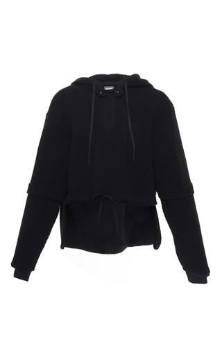 Medium alexis mabille black keyhole cropped hoodie