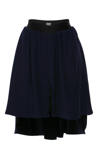 Medium alexis mabille navy pleated asymmetrical skirt