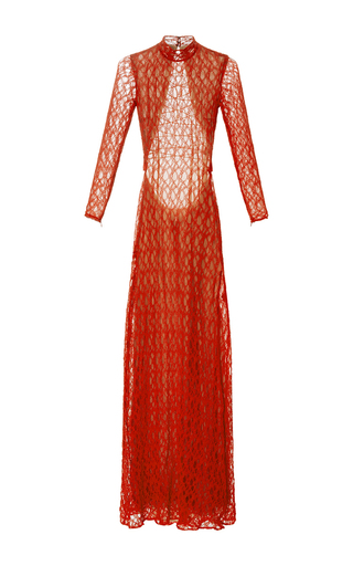 Medium sandra mansour red estatira lace long dress