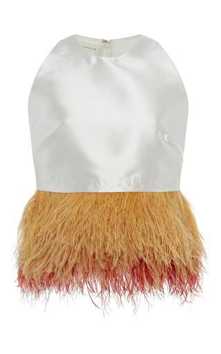 Medium sandra mansour white azad mikado feather embellished top