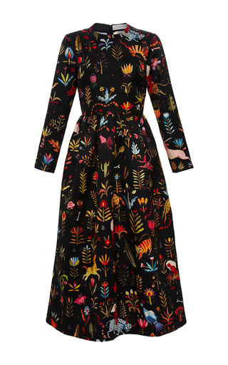Medium sandra mansour print negan silk printed midi dress