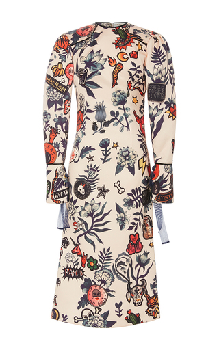 Medium sandra mansour print sela silk printed midi dress