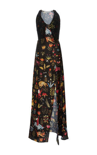 Medium sandra mansour print pari satis silk printed long dress