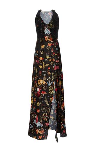Medium sandra mansour print pari satis silk printed long dress