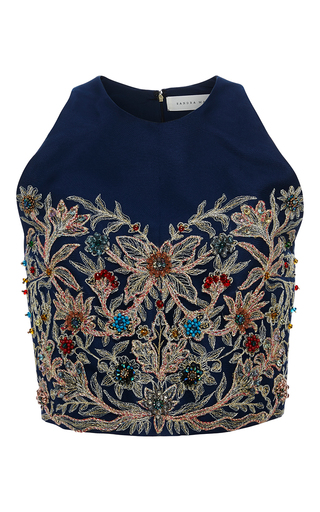 Medium sandra mansour blue mandana tulle embroidered top