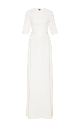 Medium sandra mansour white parin crepe long dress