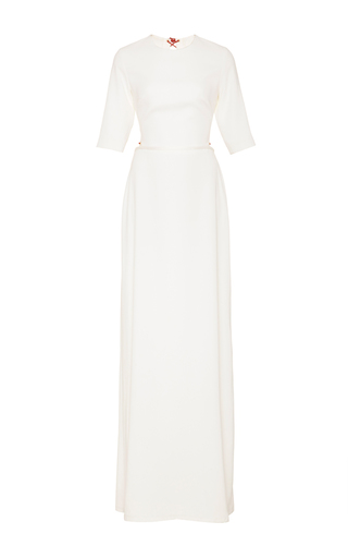 Medium sandra mansour white parin crepe long dress