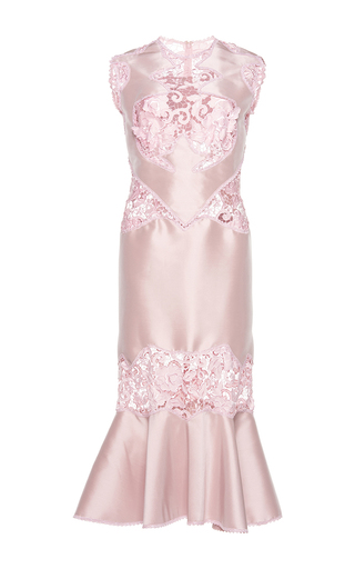 Medium costarellos pink embroidered lace midi dress