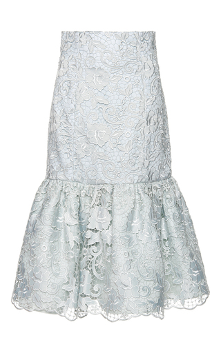 Medium costarellos green embroidered lace fluted skirt