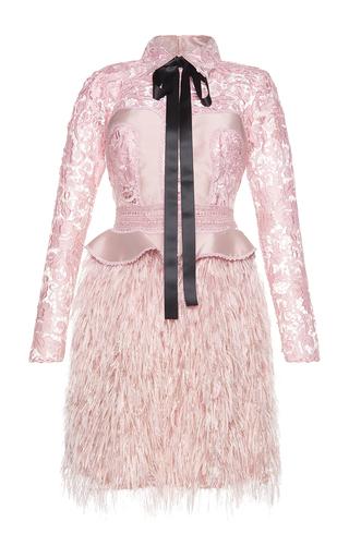 Medium costarellos pink silk yarn feather embellished mini dress