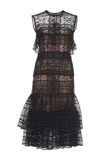 Medium costarellos black tiered guipure lace short dress