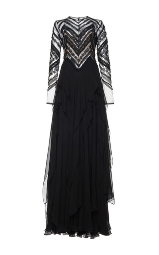 Medium costarellos black guipure lace illusion long dress