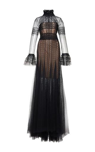 Medium costarellos black flared long sleeve guipure lace dress