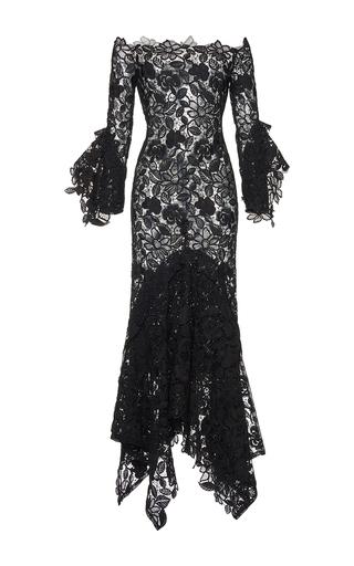 Medium costarellos black guipure lace illusion off the shoulder dress