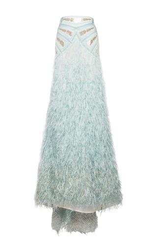 Medium costarellos light blue silk yarn feather high waist skirt