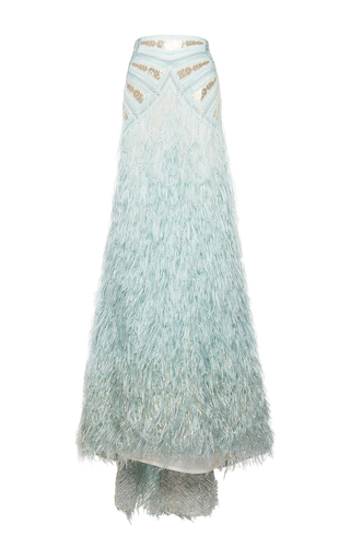Medium costarellos light blue silk yarn feather high waist skirt