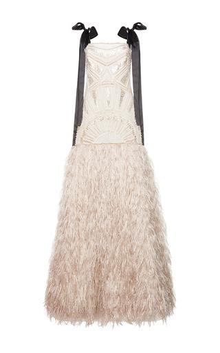 Medium costarellos tan silk yarn feather gown