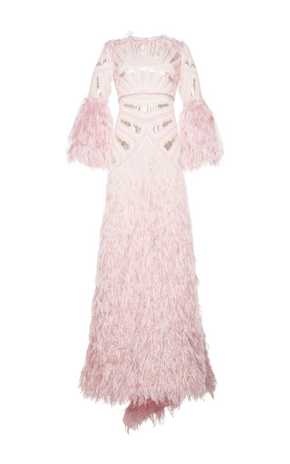 Medium costarellos pink silk yarn feather long sleeve gown