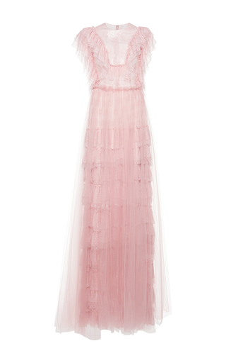 Medium costarellos pink bohemian tiered lace gown