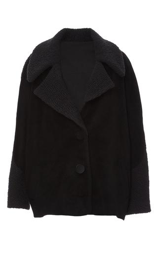 Medium azede jean pierre black textured wool oversized coat
