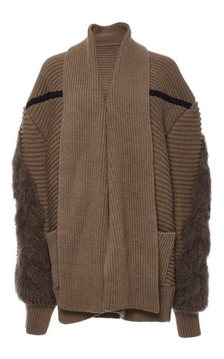 Medium azede jean pierre brown camel oversized cableknit cardigan