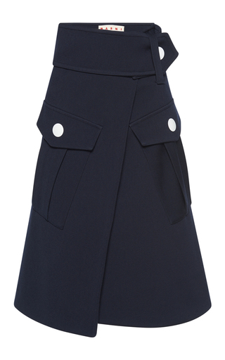 Medium marni navy wool cargo skirt
