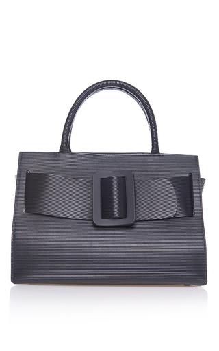 Medium boyy black ribbed leather bobby bag