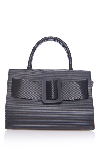 Medium boyy black ribbed leather bobby bag