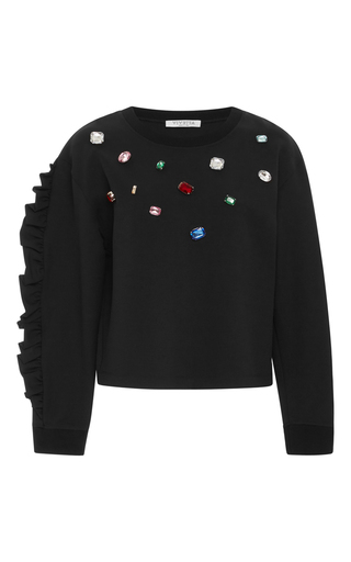 Medium vivetta black crespino jeweled sweater