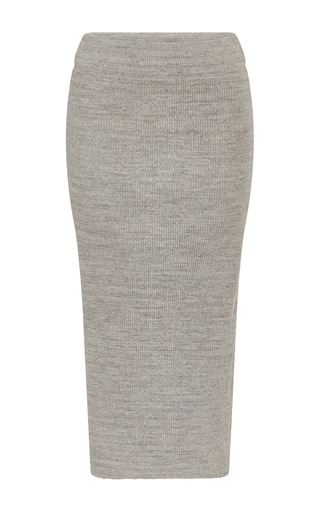 Medium james perse light grey ribbed midi skirt