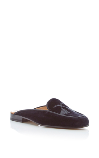 Medium stubbs wootton black lux tassel mule