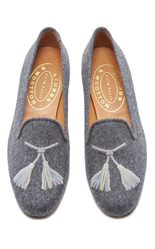 Medium stubbs wootton dark grey grey flannel tassel slipper
