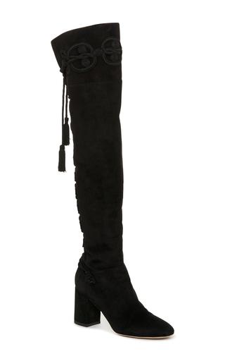 Medium elie saab black suede knee high boots