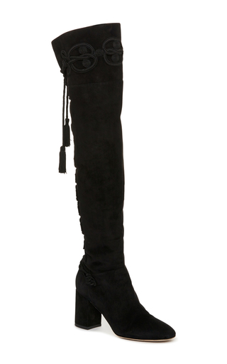 Medium elie saab black suede knee high boots