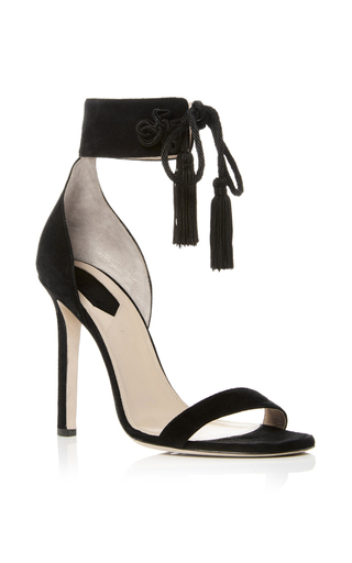 Medium elie saab black suede heeled sandals
