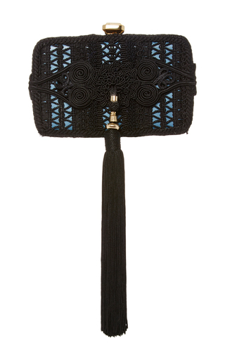 Medium elie saab black tassel clutch