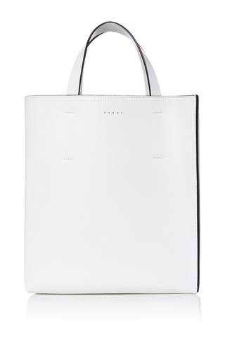 Medium marni white leather shopping bag 2
