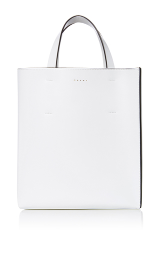 Medium marni white leather shopping bag 2