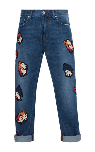 Medium msgm medium wash patchwork crop jeans