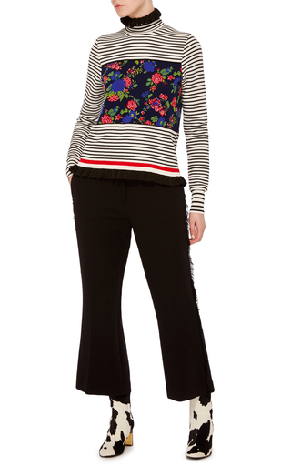Ruffle And Stripe Turtleneck Sweater by MSGM Now Available on Moda Operandi