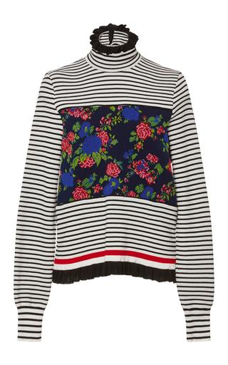 Medium msgm stripe ruffle and stripe turtleneck sweater